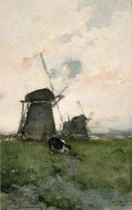 Hendrik Johannes Weissenbruch | Windmolens in een polderlandschap
