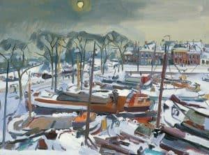 Jan van der Zee | Wintergezicht op de Westerhaven te Groningen