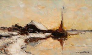 Gerhard Arij Ludwig 'Morgenstjerne' Munthe   Winterlandschap met aangemeerde boot in een vaart