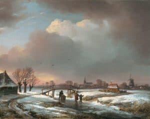 Andreas Schelfhout | Winterlandschap met figuren op een bevroren vaart