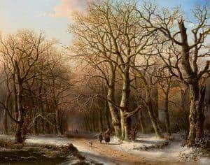 Everardus Benedictus Gregorius Pagano Mirani | Winters bosgezicht met houtsprokkelaars