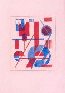 Wobbe Alkema | Compositie met blauw en rood (ontwerp voor tweekleurenlino)