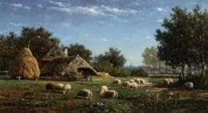 Willem Roelofs | Zomers landschap met schapen en herder bij een boerderij