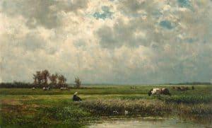 Willem Roelofs | Zomers polderlandschap met grazende koeien