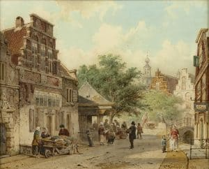 Cornelis Springer | Zomers straatje te Oudewater