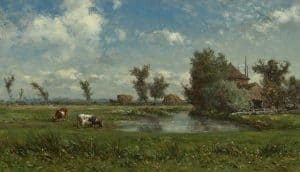 Willem Roelofs | Zonnig polderlanschap met koeien