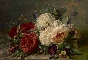 Adriana Haanen | Stilleven met rozen en viooltjes