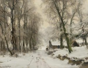 Louis Apol | Cottage in winter forest