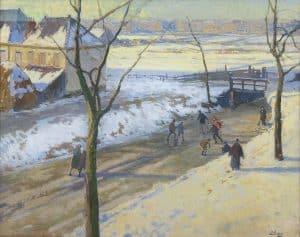 Ben Viegers   Schaatsers bij De La Reyweg, Den Haag
