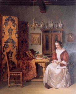 Pieter Gerardus Bernhard | Een jonge dame aan het bloemschikken