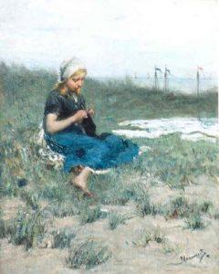 Bernardus Johannes Blommers | Breiend vissersmeisje in de duinen