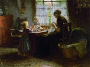 Bernardus Johannes Blommers | Interieur met een moeder en haar twee kinderen