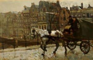 George Hendrik Breitner | Een paardenkar op de brug over de Korte Prinsengracht bij de Eenhoornsluis te Amsterdam
