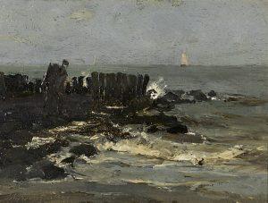 Hendrik Johannes Weissenbruch | Een mosselsteker op een pier