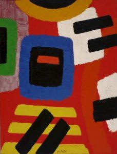 Willem Hussem | Abstracte compositie rood