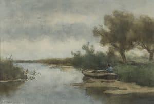Hendrik Johannes Weissenbruch | Poldervaart met man in een roeiboot