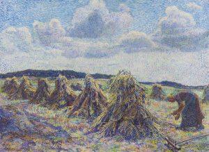 Jo Koster van Hattem   Veld met korenschoven