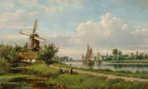 Lodewijk Johannes Kleijn | Zomers rivierlandschap met visser