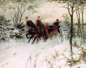 Hermanus Koekkoek | Met de arrenslee door de sneeuw