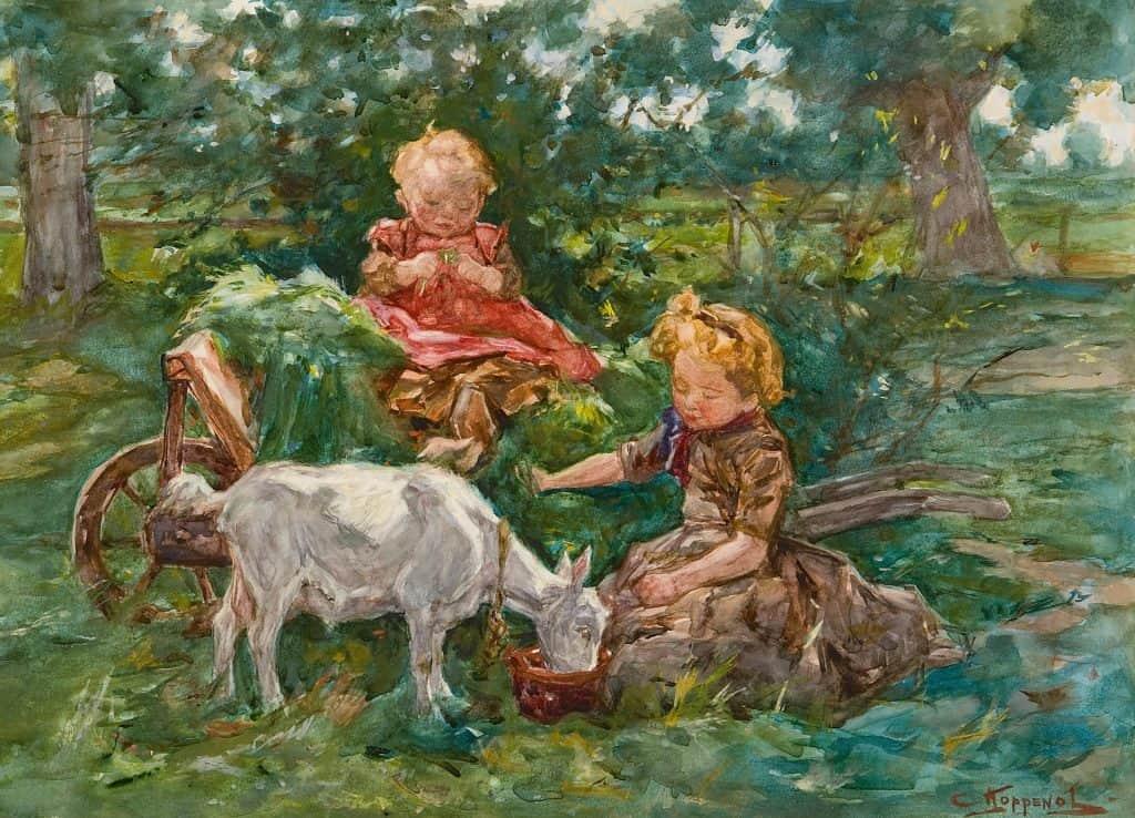 Cornelis Koppenol   Twee meisjes voeren de geit