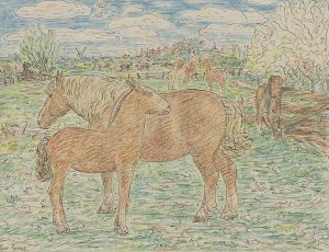 Leo Gestel | Horses with mares in the meadow
