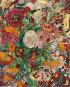 Leo Gestel   Stilleven met goudsbloemen, klaprozen, bottelrozen en andere bloemen