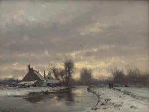 Louis Apol | Vaart bij ondergaande zon in besneeuwd landschap