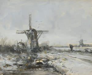Louis Apol | Wandelaar bij een molen in een winters landschap