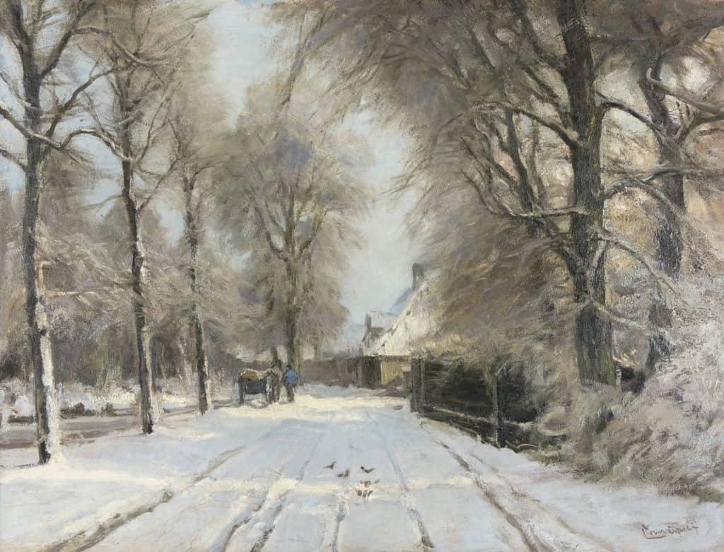 Louis Apol | Winterse boslaan met paard en wagen