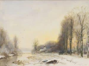 Louis Apol | Winters landschap bij zonsondergang