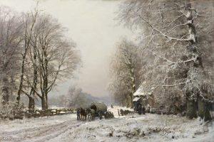 Louis Apol | Winters landschap met paard en wagen