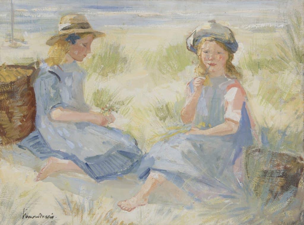 Simon Willem Maris | Bloemen plukkende meisjes in de duinen