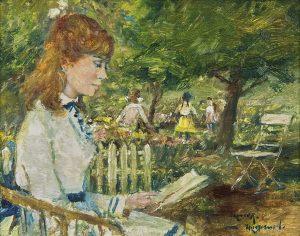Rolf Dieter Meyer-Wiegand | Lezende jonge vrouw in een zonnig park