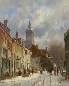 Adrianus Eversen | Besneeuwde straat te Naarden