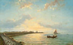 Johannes Hermanus Barend Koekkoek | Boten op de Zuiderzee bij vallende avond