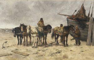 Johan Frederik Cornelis Scherrewitz | Vissers met trekpaarden op het strand