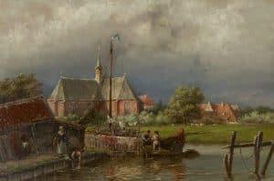 Hermanus Koekkoek | Gezicht op het dorp Spaarndam nabij Haarlem