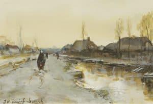Hendrik Johannes Weissenbruch | Langs een winterse vaart bij Noorden