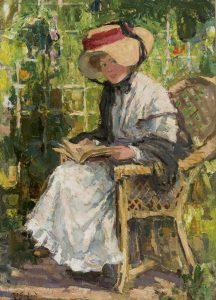 Rob Graafland | Lezend meisje in een zonnige tuin