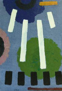 Willem Hussem | Composition against a blue background