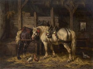 Willem Boogaard | Twee paarden in een stal