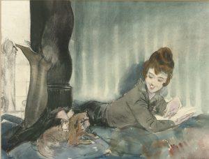 Piet van der Hem | Lezende vrouw met hondje