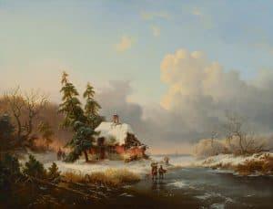 Frederik Marinus Kruseman | Winterlandschap met houtsprokkelaars bij een bevroren vaart