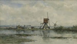 Willem Roelofs | Polderlandschap met twee molens