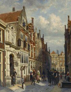 Cornelis Springer | Entrance of the Municipal School the Vriesestraat in Dordrecht