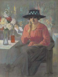 Jacob Sijbout 'Jac' de Vries   Vrouw met sigaret in een restaurant