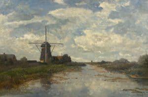 Paul Gabriël | Een molen bij de poldervaart bij Abcoude
