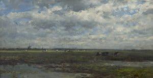 Willem Roelofs | Polder landschap with cows