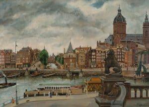 George Friederich Ferdinand Schiller | Gezicht op de Prins Hendrikkade, met de St. Nicolaaskerk te Amsterdam