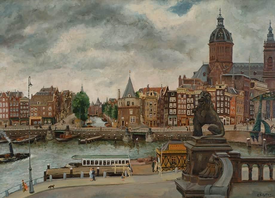 George Friederich Ferdinand Schiller   Gezicht op de Prins Hendrikkade, met de St. Nicolaaskerk te Amsterdam